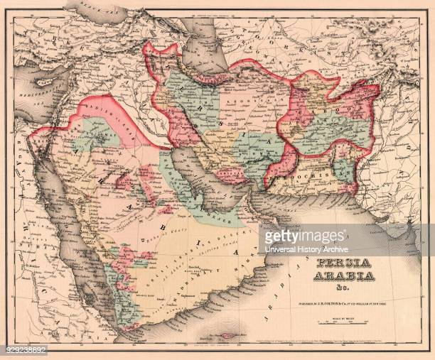 The Middle East in the mid 19th century. Persia, Arabia etc. As it was circa 1850. From Colton's General Atlas, edition of 1857.