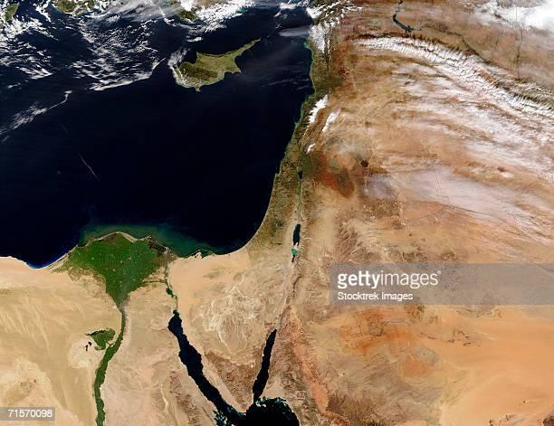 """""""the middle east, satellite image"""" - libanon midden oosten stockfoto's en -beelden"""