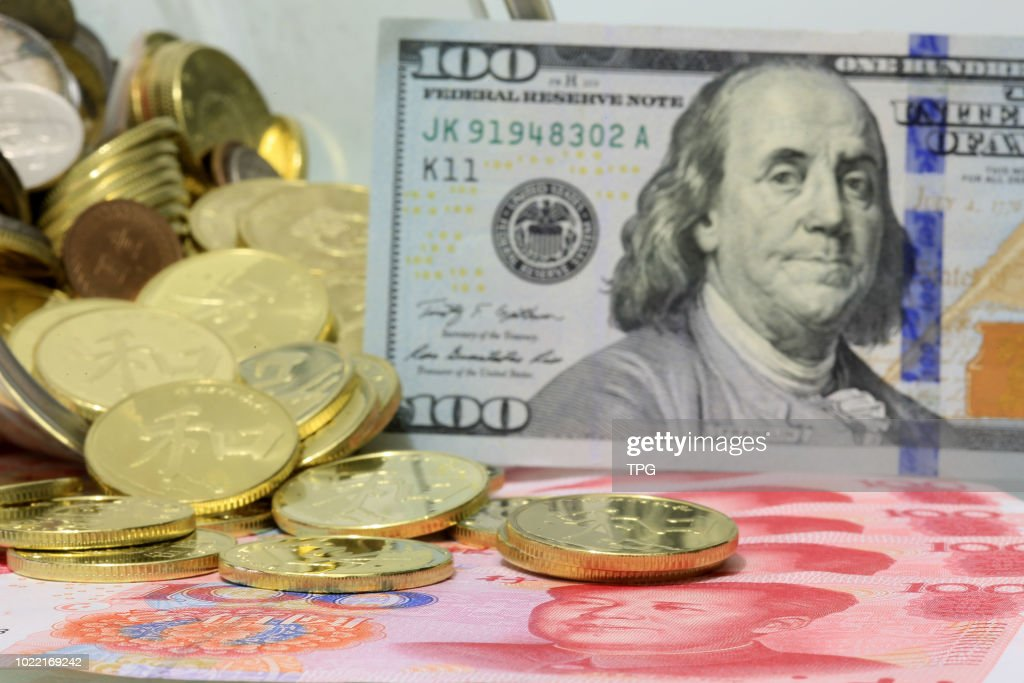 middle exchange rate of  RMB and USD down to 96 base point in Beijing,China on 23 August 2018 : News Photo