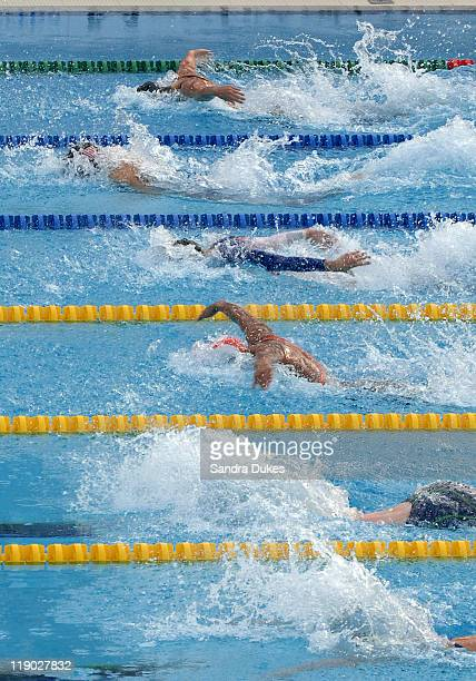 The middle of the Women's 50 Meter Breaststroke Final at the XI World Aquatic Championships in Montreal on July 30, 2005.