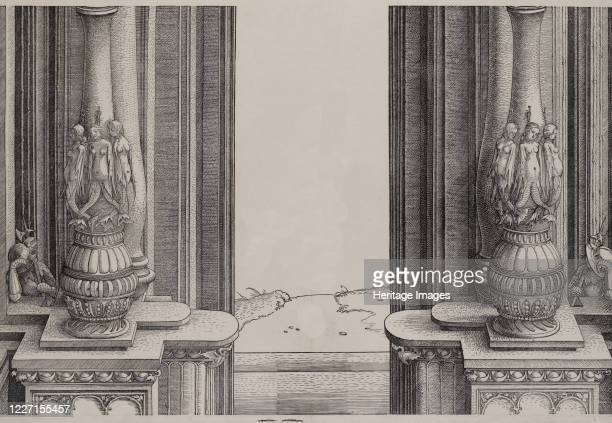 The Middle Section of the Entryway to the Central Portal, the Columns Decorated by Sirens and Sleeping Soldiers Behind, from the Arch of Honor,...