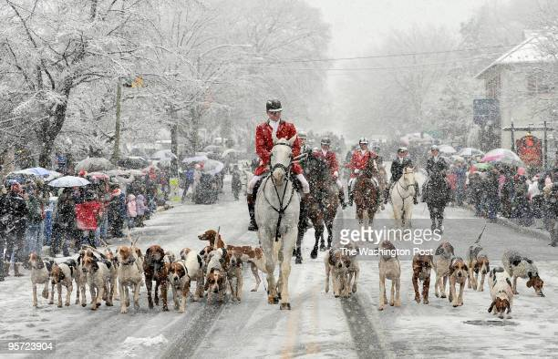The Middleburg Christmas Parade is led by the Middleburg Hunt riders and their hounds on a snowy day on December 5 2009 in Middleburg Virginia