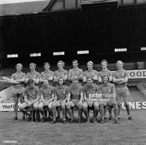 The Middlesbrough FC 2nd division football team for the 1971-1972 season, UK, 1971. From left to right Bill Gates, Alex Smith, Alan Moody, Stuart...