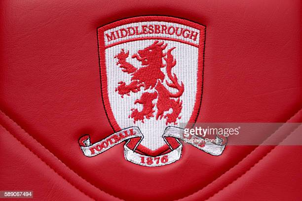 The Middlesbrough logo on the seats in the dougout during the Premier League match between Middlesbrough and Stoke City at Riverside Stadium on...