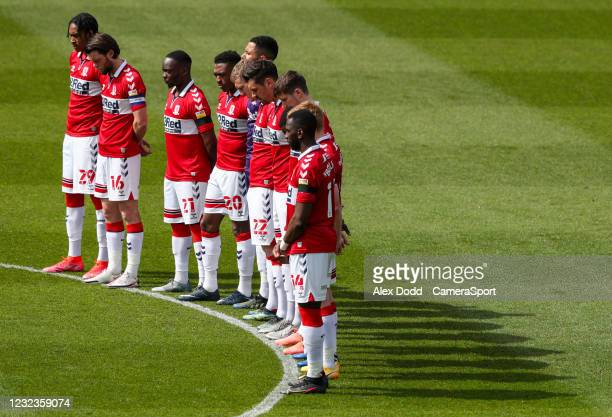 The Middlesbrough team observes a minutes silence in remembrance of HRH Prince Philip during the Sky Bet Championship match between Middlesbrough and...