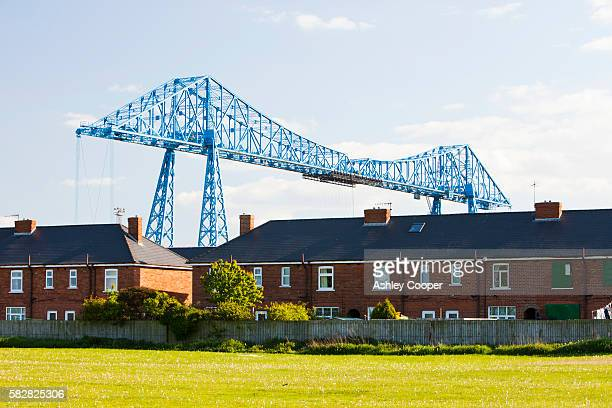 The Middlesbrough Transporter Bridge across the river Tees.