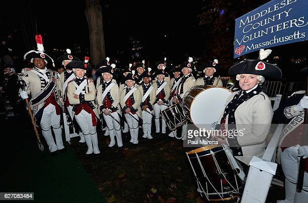 The Middlesex County Volunteers perform at the Annual Boston Christmas Tree Lighting at Boston Common Park on December 1 2016 in Boston Massachusetts...