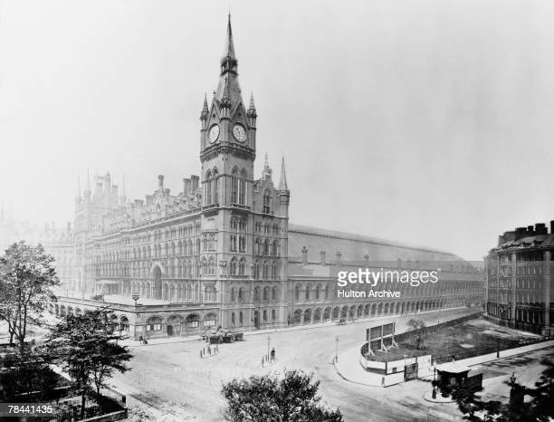 The Midland Grand Hotel and St Pancras Station designed by George Gilbert Scott at King's Cross in London circa 1880