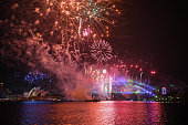 sydney australia midnight fireworks display during