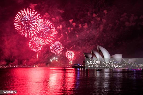 The midnight fireworks light up the Sydney Opera House during New Year's Eve celebrations on January 2019 in Sydney Australia