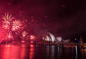 sydney australia midnight fireworks light up