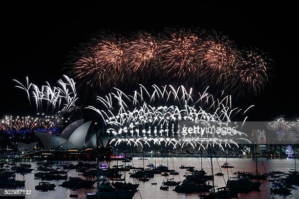 The midnight fireworks on display on New Year's Eve on January 1 2016 in Sydney Australia