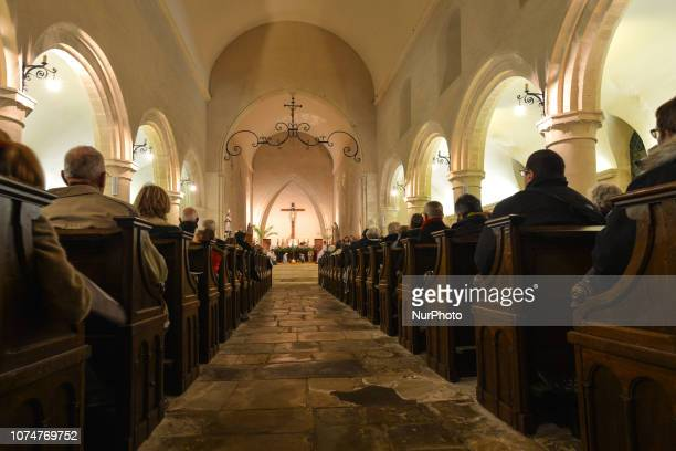 The midnight mass celebrated on Christmas Eve in Saint Martin Church in Lingevres On Monday December 24 in Lingevres Normandy France