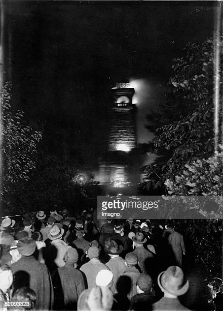 The Midsummer Fire at the Bismarkwarte Berlin Photograph 1933 [Das Sonnwendfeuer auf der Bismarkwarte in den Mggelbergen Berlin Photographie 1933]