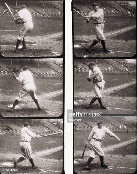 The Mighty Bambino in Action An International Actiongraph of Babe Ruth mighty slugger of the American League champion Yankees completing his swing...