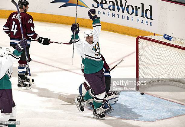 The Mighty Ducks of Anaheim celebrate a third period goal during the game against the Colorado Avalanche on March 28, 2006 at Pepsi Center in Denver,...