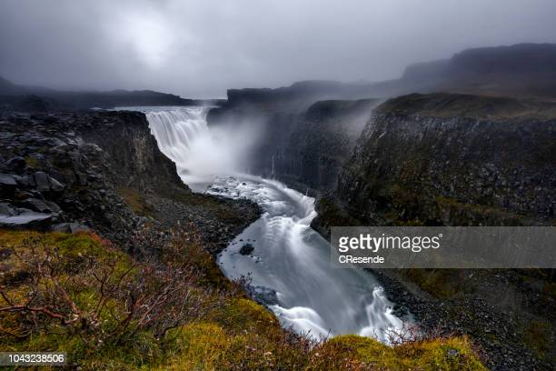 the mighty foss - dettifoss waterfall stock photos and pictures