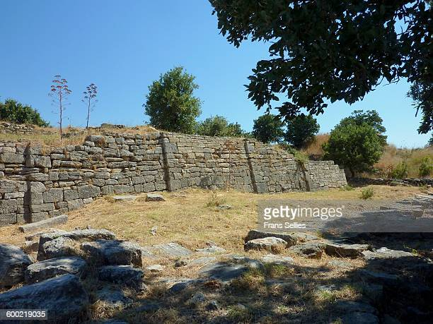 the mighty walls of the city of troy - ulysse photos et images de collection