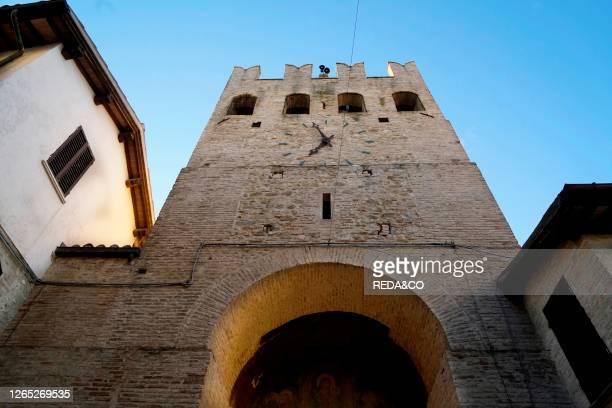 The mighty walls surrounding Montefalco, Porta Sant 'Agostino gate, Umbria, Italy, Europe.