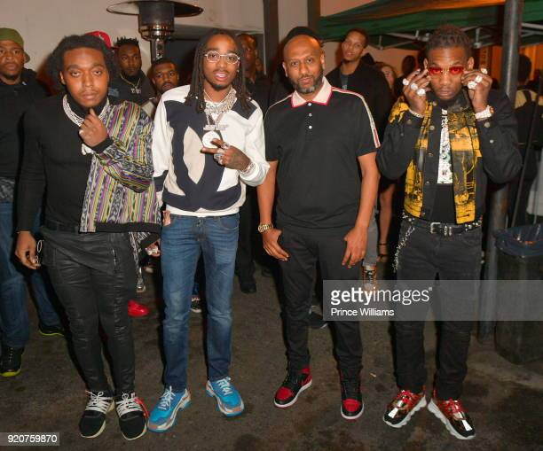 The Migos Takeoff Quavo Alex Gidewon and Offset attend All Star weekend Migos album Release Party at Boulevard3 on February 19 2018 in Hollywood...