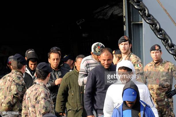 The migrants disembarked from the ship of the Italian Military Navy San Marco in the port of Naples southern Italy After rescued in Mediterranean Sea...