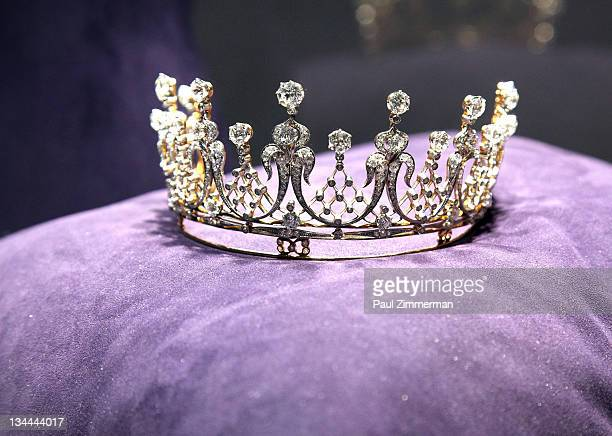 """The Mike Todd diamond Tiara owned by Elizabeth Taylor on display at """"The Collection Of Elizabeth Taylor"""" auction press preview at Christie's on..."""