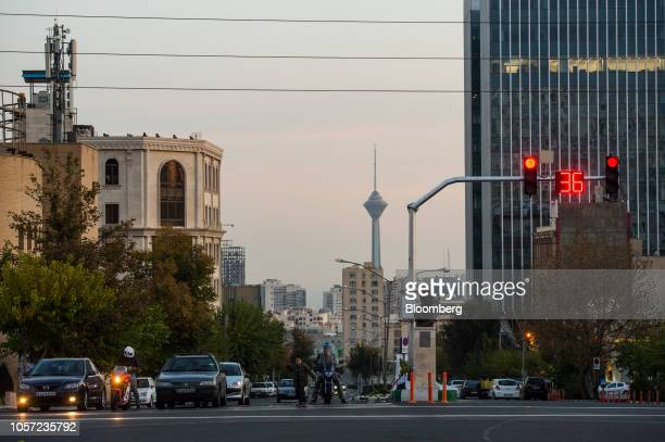 The Milad Tower stands beyond a red traffic light at an intersection in Tehran Iran on Saturday Nov 3 2018 Irans Supreme Leader Ayatollah Khamenei...