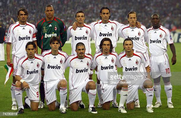 The Milan team pose for the cameras prior to kickoff during the UEFA Champions League Final match between Liverpool and AC Milan at the Olympic...