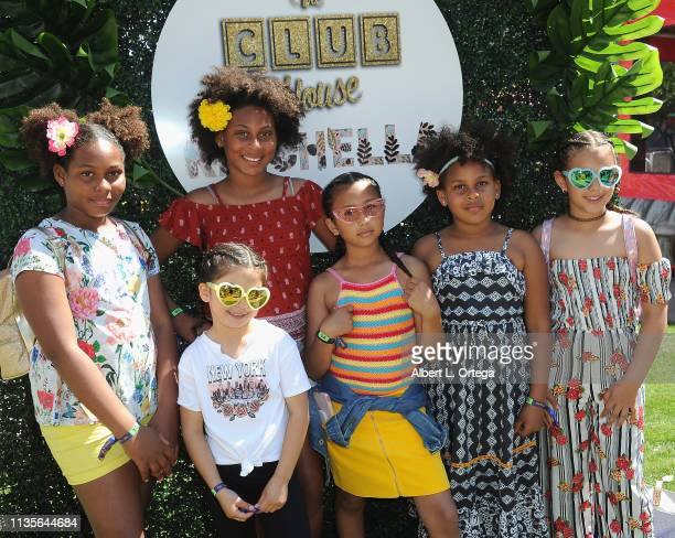 The Miles Girls and friends arrive for Clubhouse Kidchella held at Pershing Square on April 6 2019 in Los Angeles California