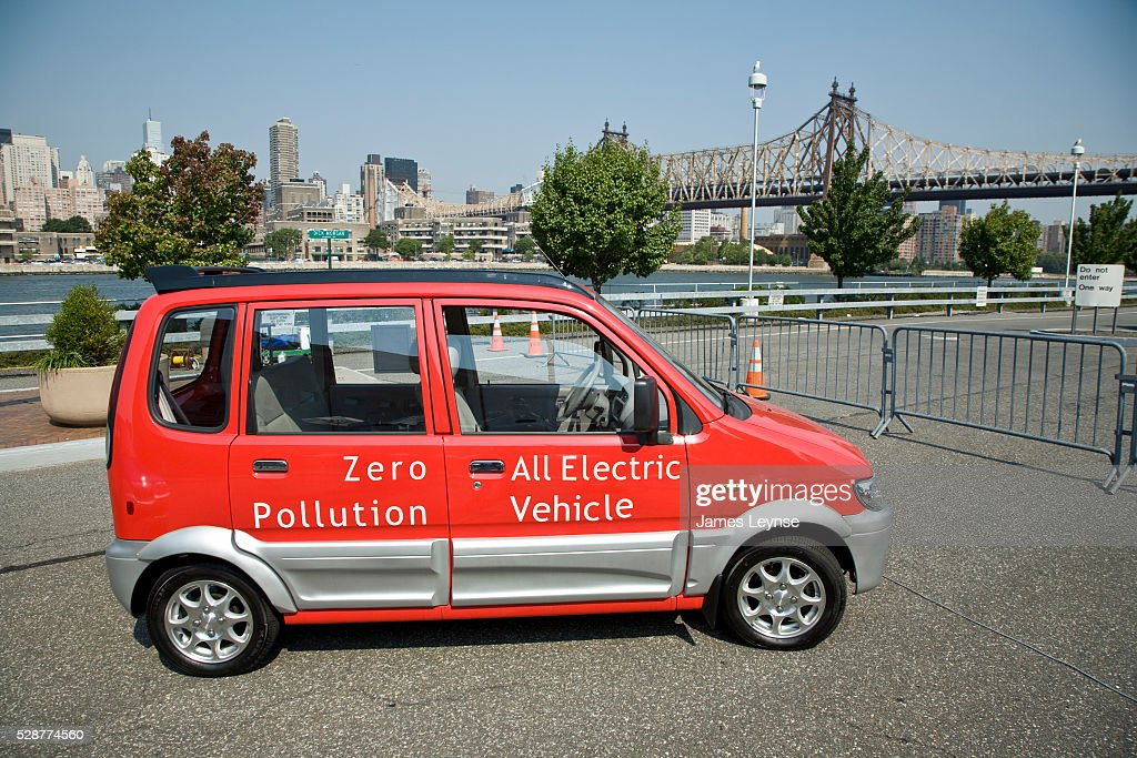 The Miles ZX40 electric car at a press conference announcing