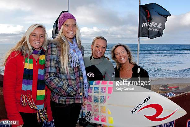 The MileyDyer clan Olivia Pheobe ASP World Tour surfer Jessi and mom Jen surfing and keeping warm before Round 1 of the Rip Curl Pro gets underway at...