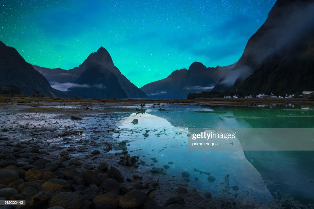 The Milford Sound fiord. Fiordland national park, New Zealand with milky way : Stock Photo