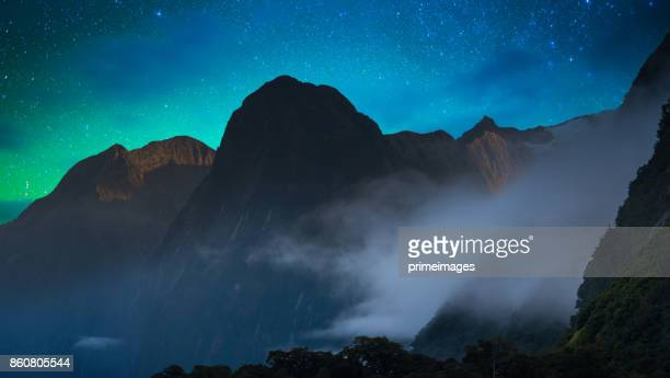 The Milford Sound fiord. Fiordland national park, New Zealand with milky way