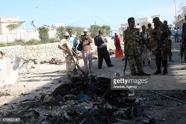 The militant attack occurs that targeted the Presidential Palace in capital Mogadishu Somalia on February 21 2014The militants were killed after the...