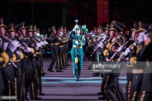 The Military Band of the People's Liberation Army of China perform during the Military Tattoo festival preview night at Castle Esplanade on August 6...