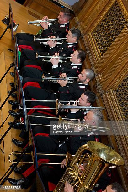 The Military corps Fanfara dei Carabinieri orchestra performed in a music concert in Rome at Santa Cecilia Conservatory directed by orchestra leader...