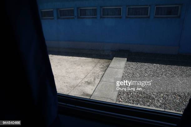 The Military Demarcation Line is seen at the border village of Panmunjom between South and North Korea at the Demilitarized Zone on April 11 2018 in...