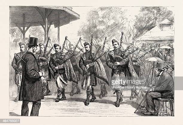 The Pipers Of The Argyle And Sutherland Highlanders Parading The Grounds 1890 Engraving
