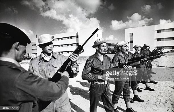 The military formation of students from biology faculty of the Tripoli University Libya on December 1969