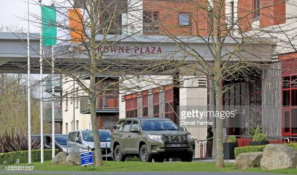 The military leave the Crowne Plaza hotel after assisting in the transfer of airline passengers>> on March 29, 2021 in Dublin, Ireland. Last week,...