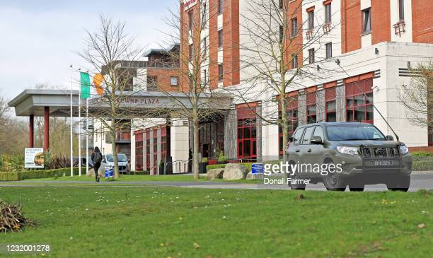 The military leave the Crowne Plaza hotel after assisting in the transfer of airline passengers on March 29, 2021 in Dublin, Ireland. Last week,...