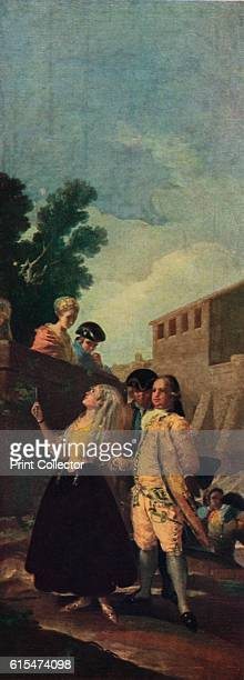 The Military Man and the Lady', 1779 . An overly adorned lady accompanied by her suitor, glances up at a couple leaning on a wall. The painting is...