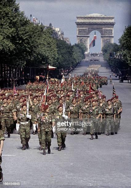 The Military Parade Of July 14Th 1989 France Paris période 19561958 Le défilé du 14 juillet sur l'avenue des Champs ElyséesLe Général Marcel BIGEARD...