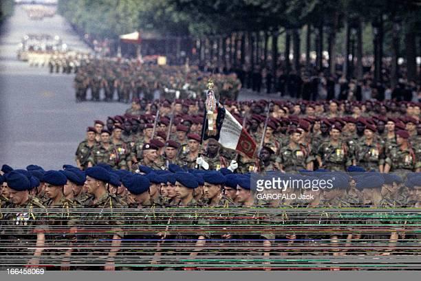 The Military Parade Of July 14Th 1989 France Paris période 19561958 Le défilé du 14 juillet sur l'avenue des Champs Elysées Le 8e Régiment de...