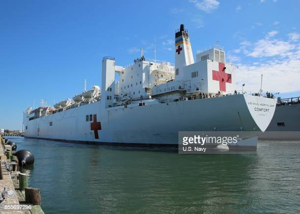 The Military Sealift Command hospital ship USNS Comfort departs Naval Station Norfolk to support hurricane relief efforts in Puerto Rico The...