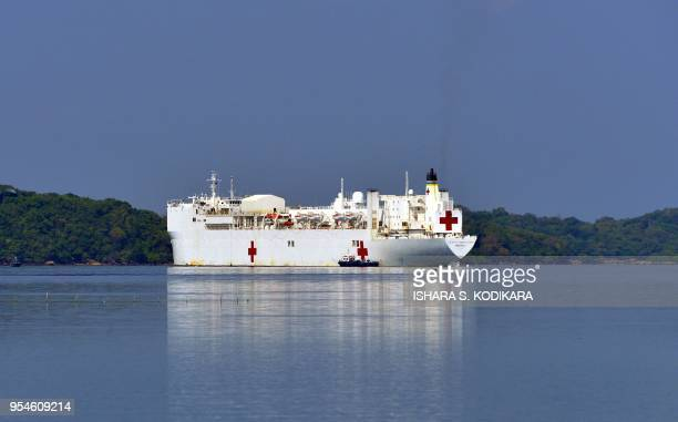 The Military Sealift Command hospital ship USNS Mercy is seen in the eastern Sri Lankan province of Trincomalee port in Trincomalee on May 4 2018 US...