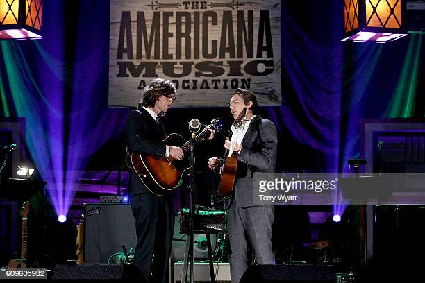 The Milk Carton Kids' Joey Ryan and Kenneth Pattengale perform onstage at the Americana Honors Awards 2016 at Ryman Auditorium on September 21 2016...
