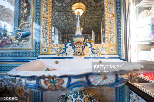 The milk fountain in the salesroom at 'Pfunds Molkerei' milk shop listed as a historical monument in Dresden Germany 10 December 2015 The milk shop's...
