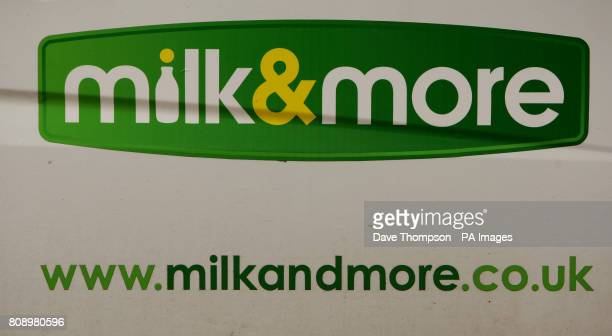 The Milk More logo on the side of a Dairy Crest delivery van at their Failsworth depot Failsworth Greater Manchester