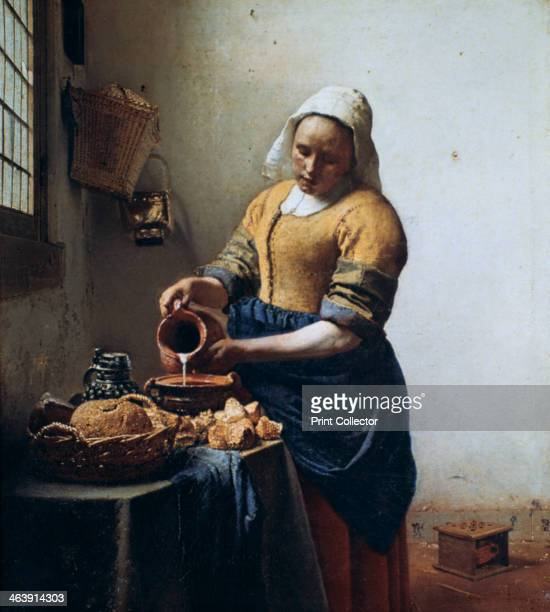 'The Milkmaid' 1658 His vision is concentrated on a single sturdy figure The still life in the foreground conveys domestic simplicity and the light...
